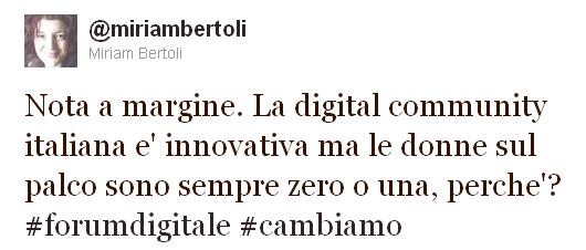 tweet di Miriam Bertoli #forumdigitale