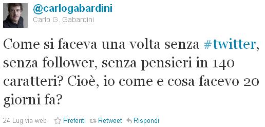 Carlo Gabardini su Twitter